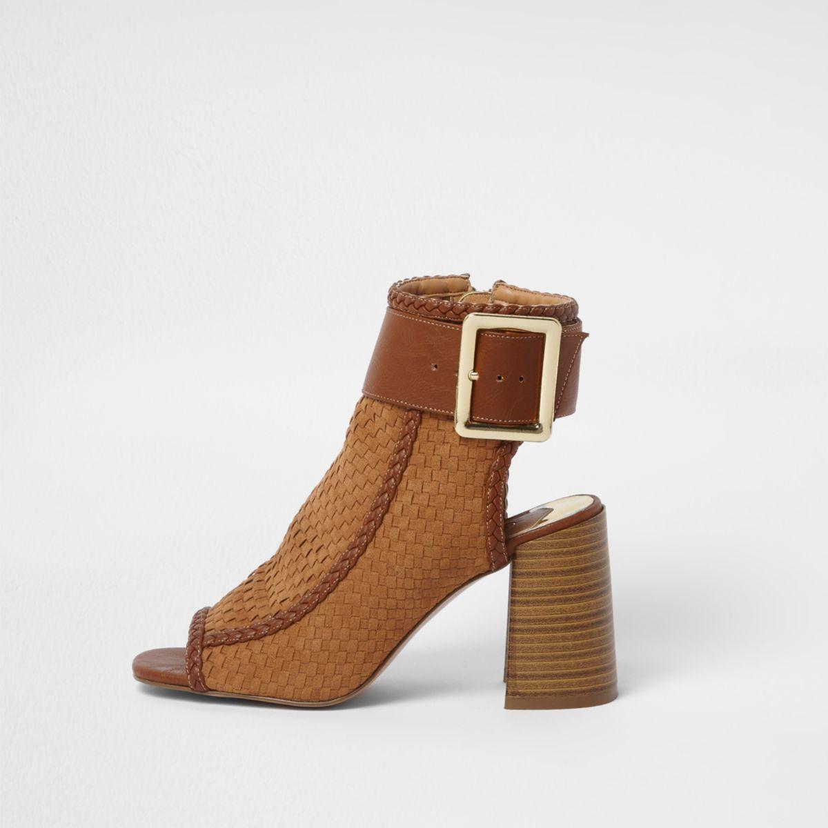 Tan woven block heel shoe boots