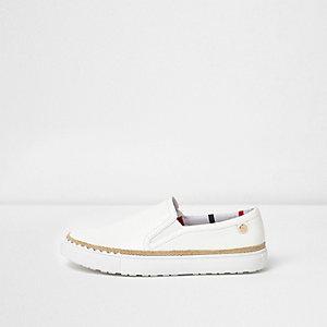 White wide fit espadrille trim plimsolls