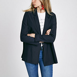 Marineblauwe double-breasted blazer