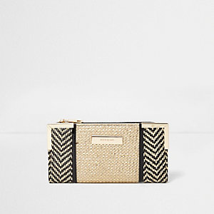 Gold and black woven slim purse