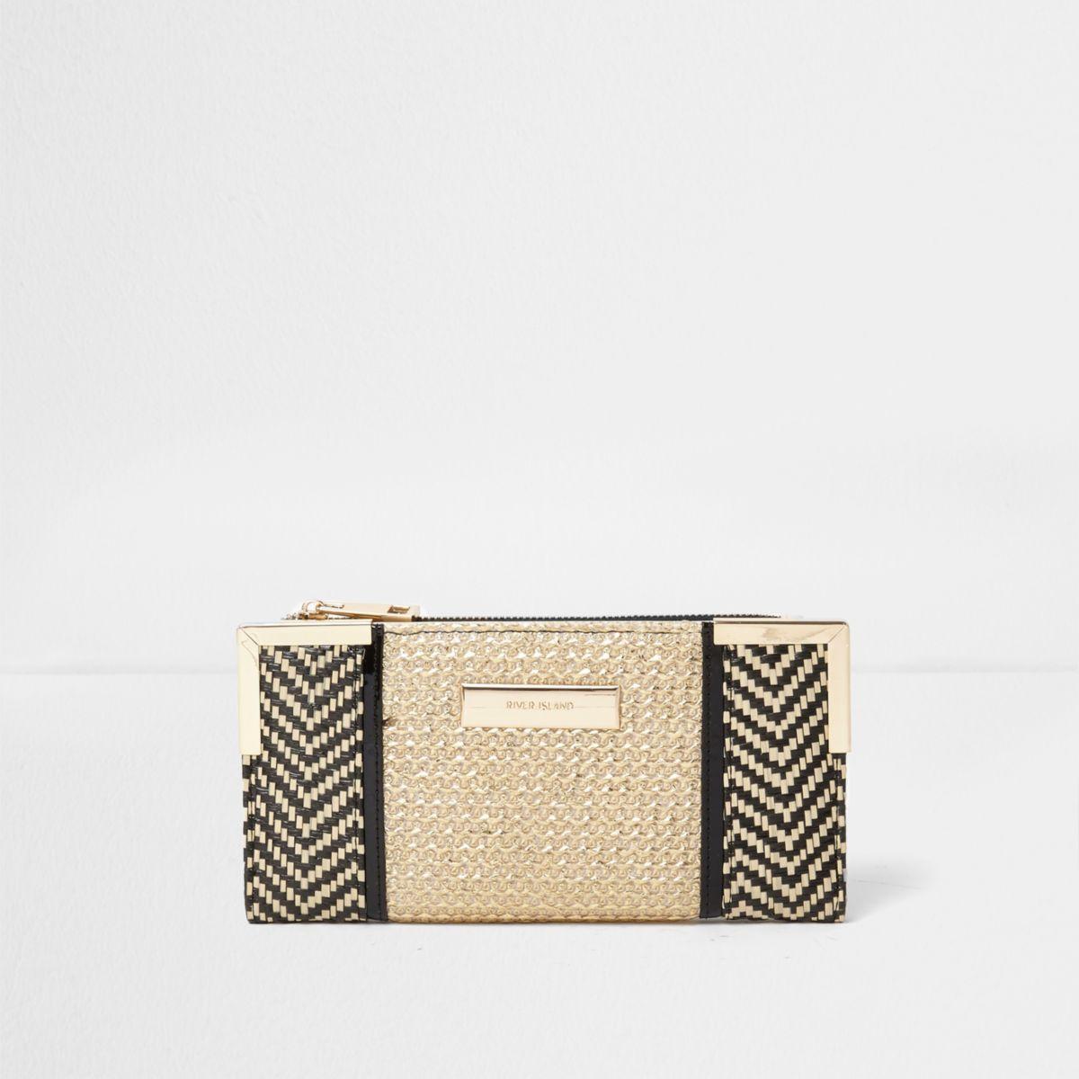 Goudkleurig/zwarte geweven smalle portemonnee