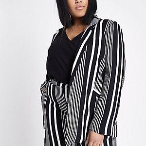 RI Plus - Zwarte blazer met strepen en schoudervulling