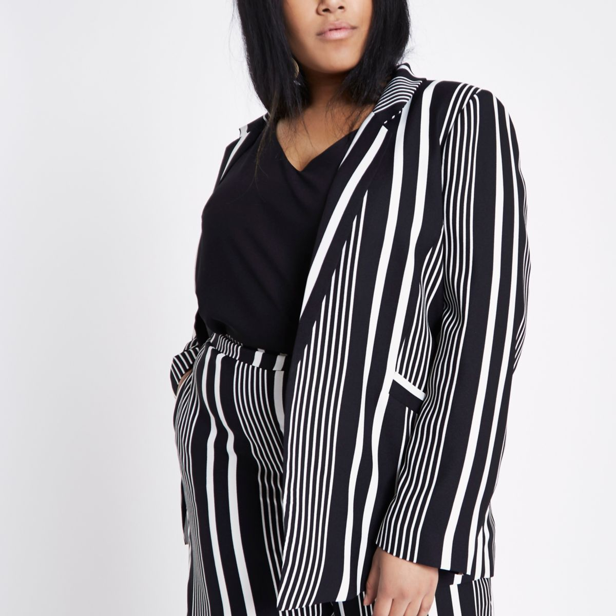 Plus black stripe shoulder pad blazer