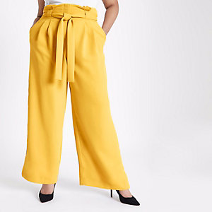 Plus yellow tapered leg trousers