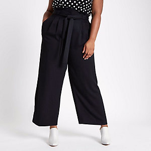 Plus black paperbag waist wide leg trousers