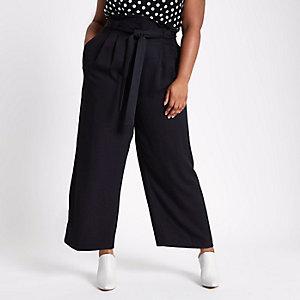 Plus – Pantalon large noir à taille haute ceinturée
