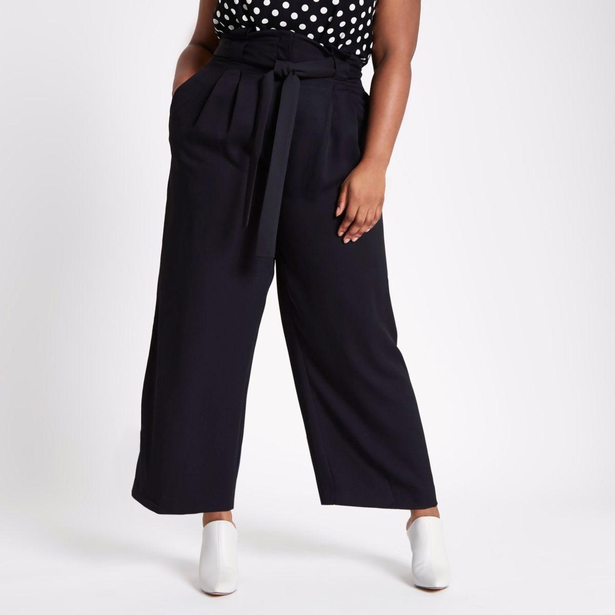 Plus black paperbag waist wide leg trousers