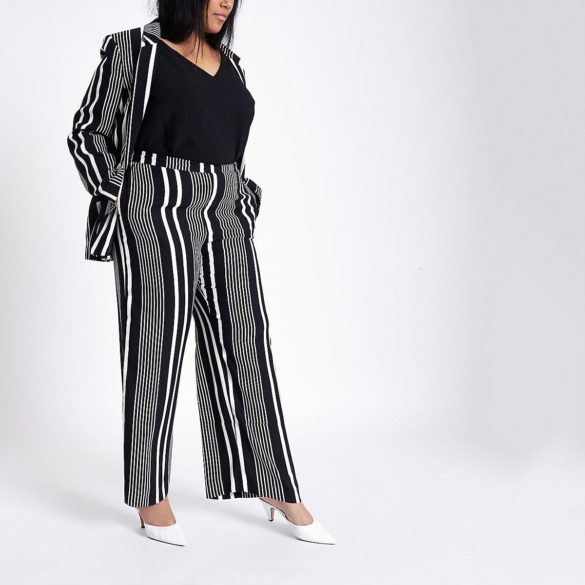 Plus black stripe print wide leg trousers