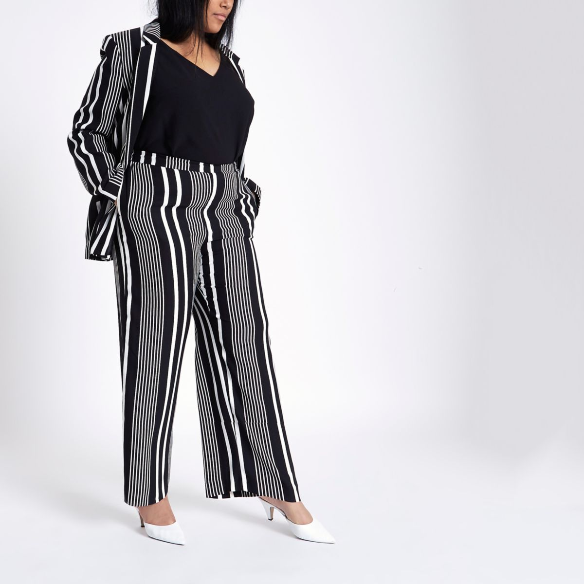 Plus black stripe print wide leg pants