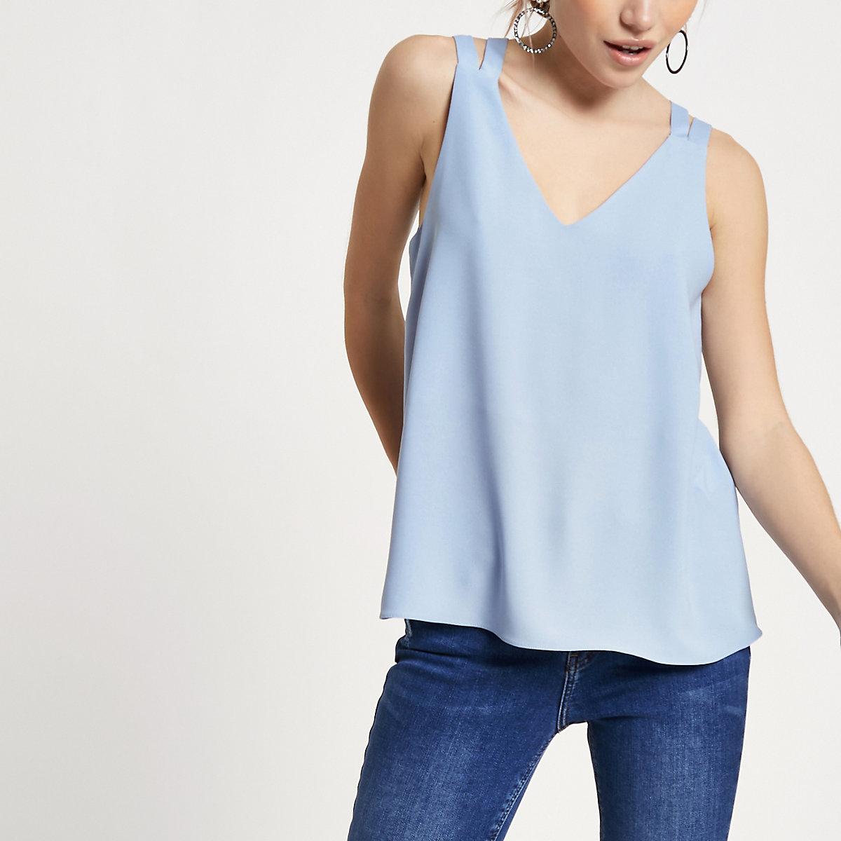 Petite blue double strap cross back vest