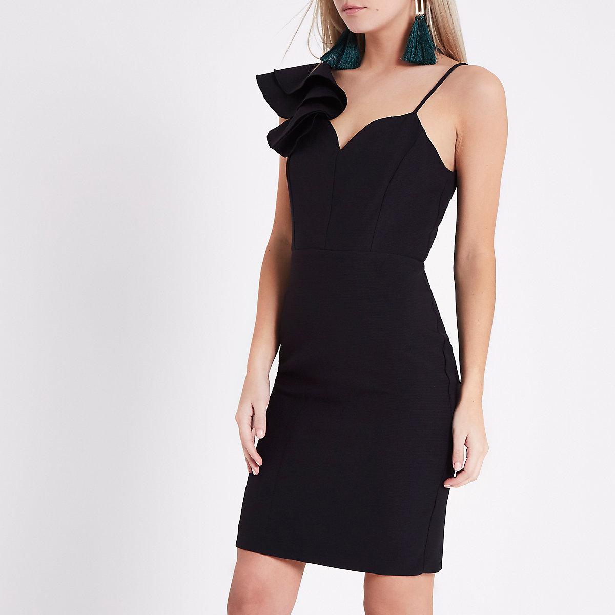 Petite black one shoulder bodycon dress