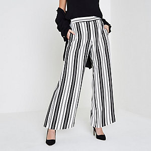 Petite white stripe wide leg trousers
