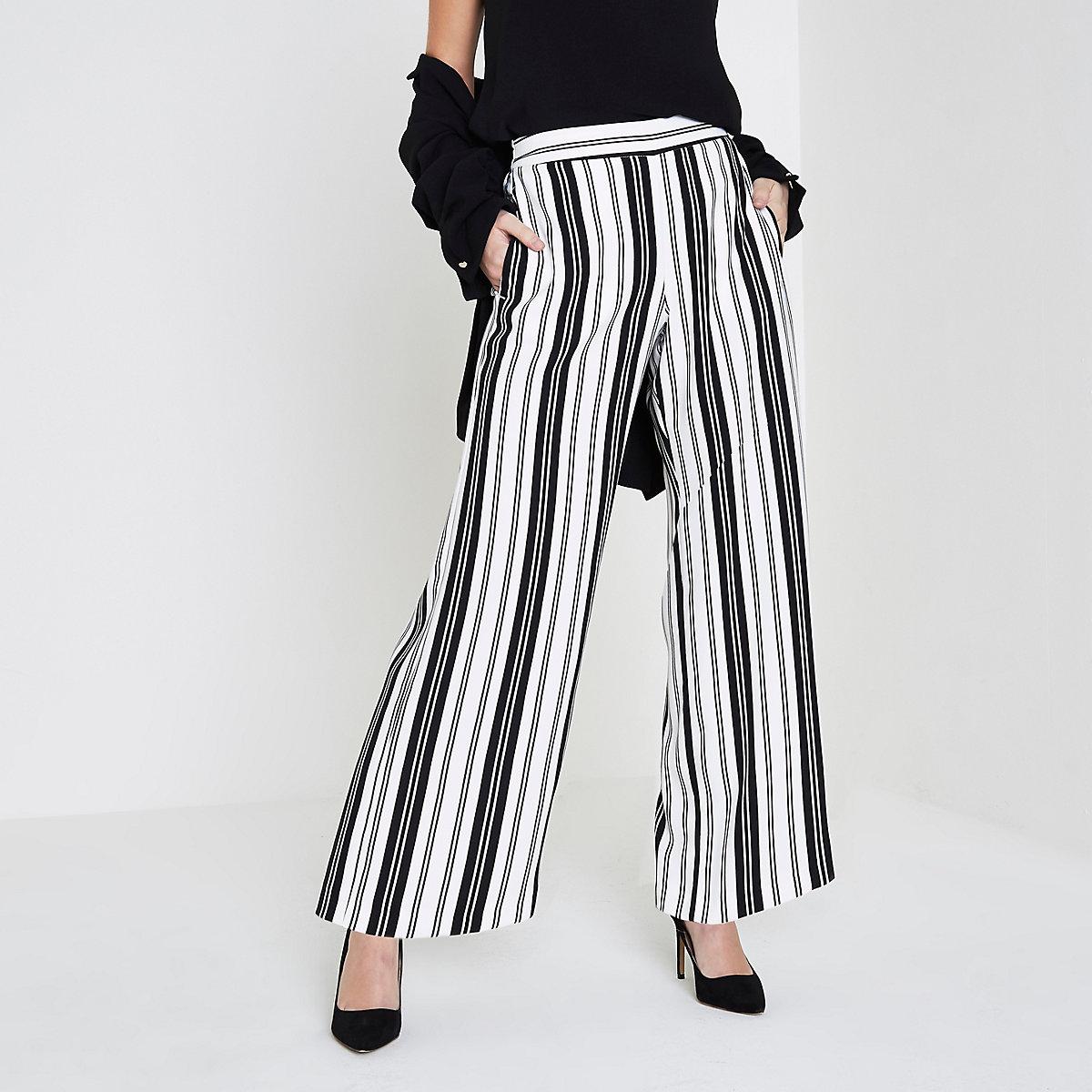 Petite white stripe wide leg pants