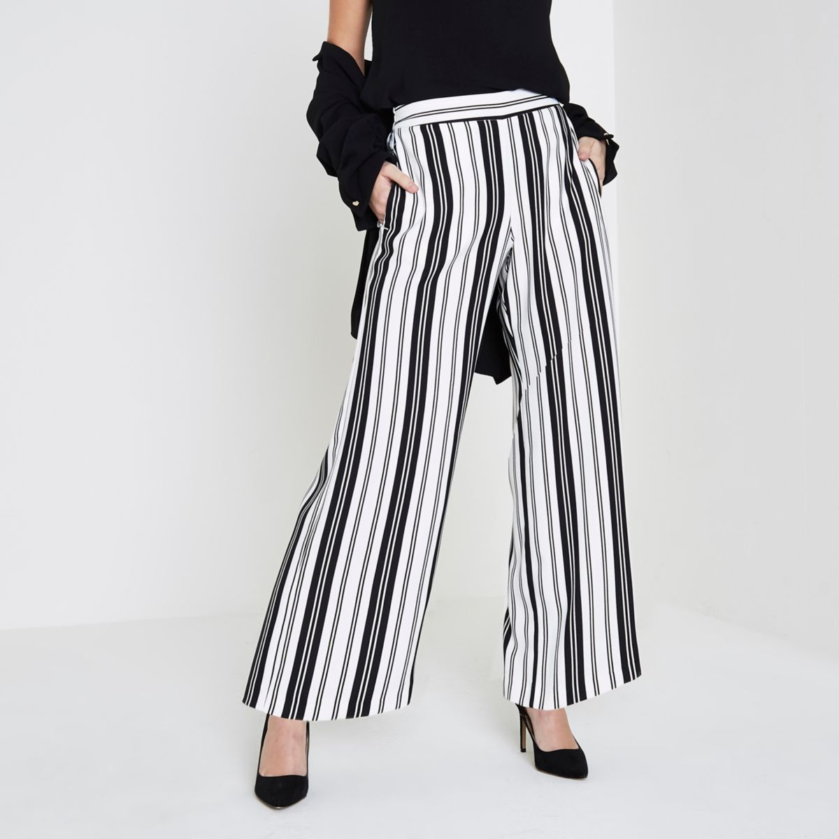 Petite white stripe wide leg trousers