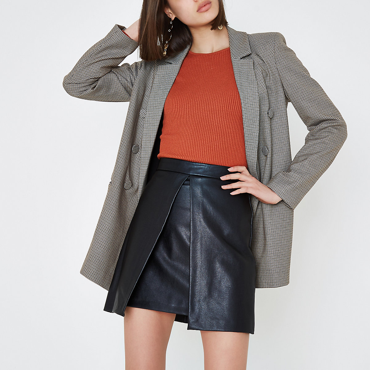 Black split front faux leather  A line skirt