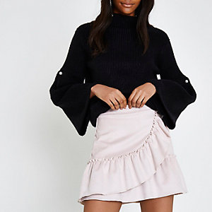 Light pink faux suede wrap frill mini skirt