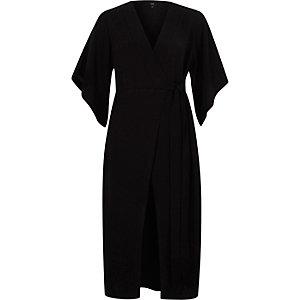 Black wrap front tie waist midi dress