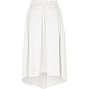White faux leather high low midi skirt