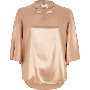 Rose gold metallic high neck cape sleeve top