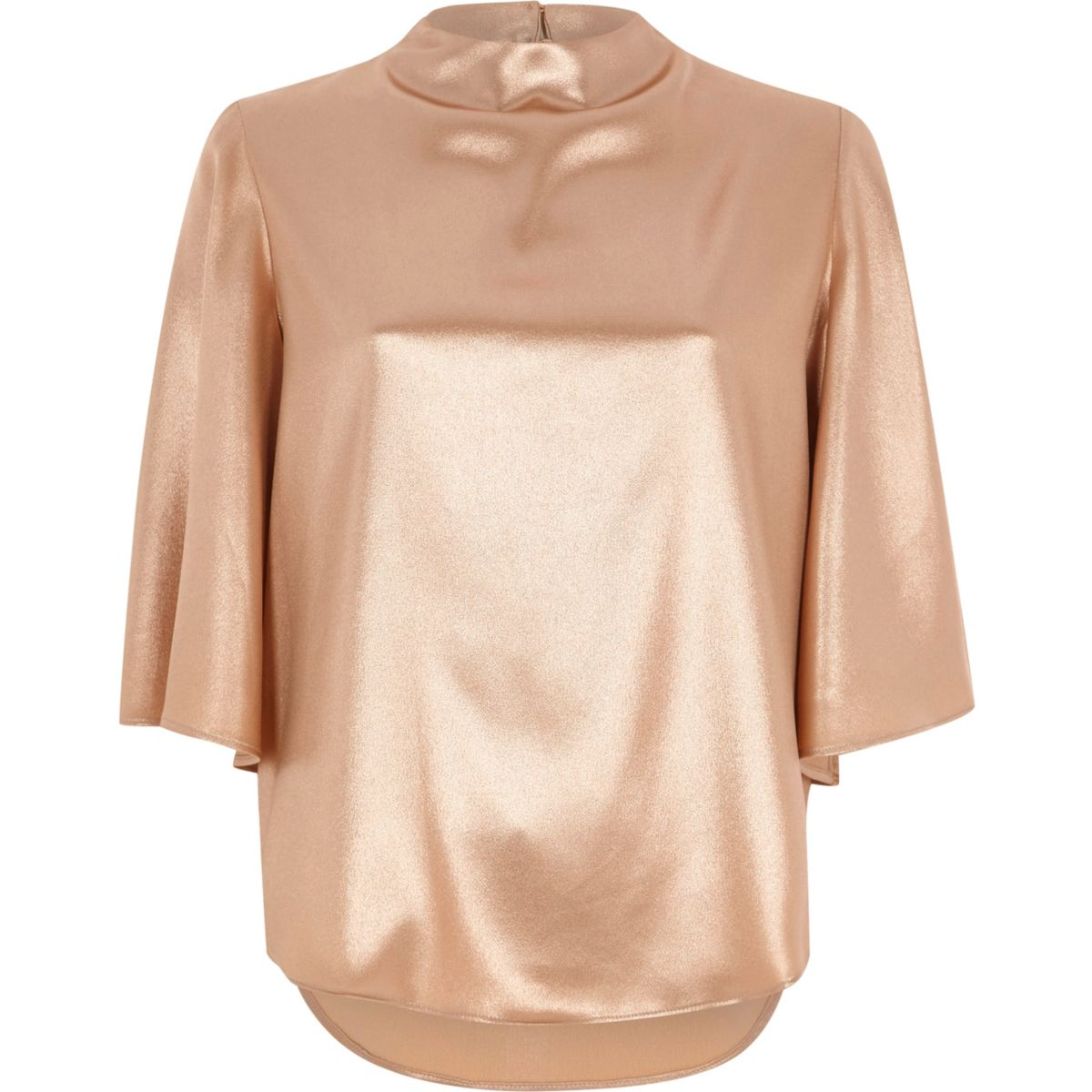 Gold Metallic Top River Island