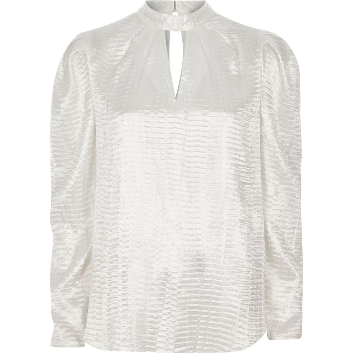 White textured satin puff sleeve top