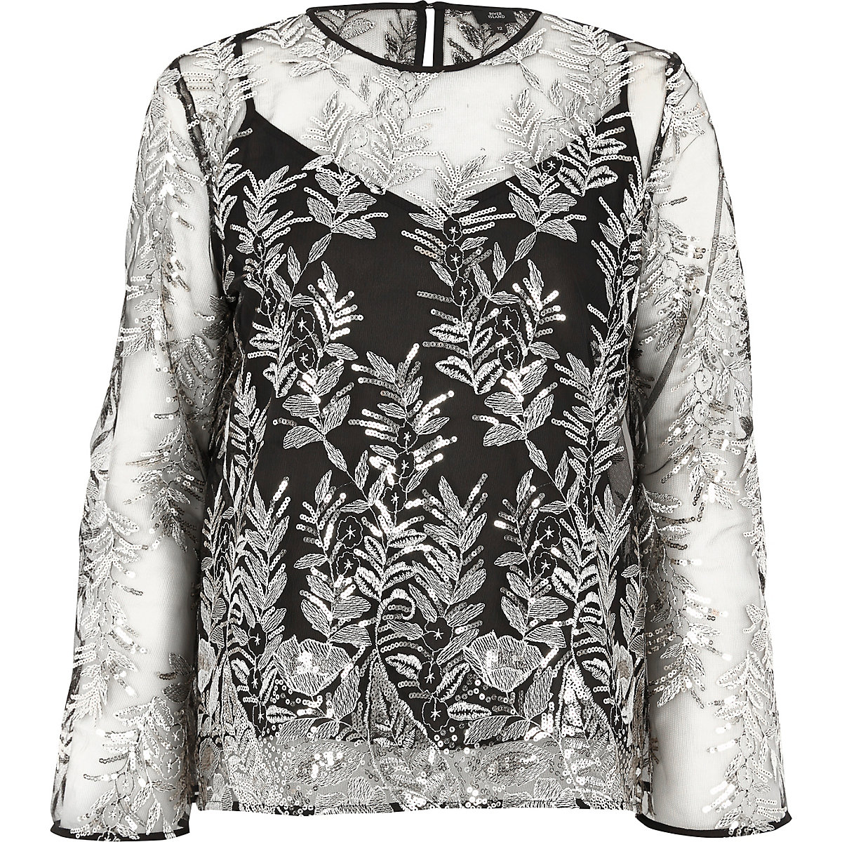 Black mesh sequin embroidered bell sleeve top