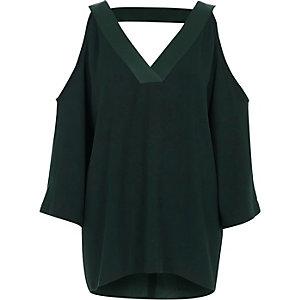 Khaki cold shoulder V neck top