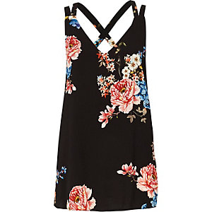 Black floral double strap cross back tank