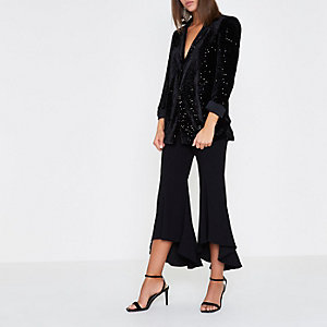 Black cropped flare pants