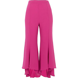 Pink cropped flared pants