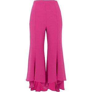 Roze cropped wijduitlopende broek