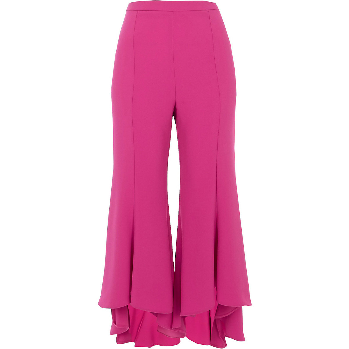 Pink cropped flared trousers