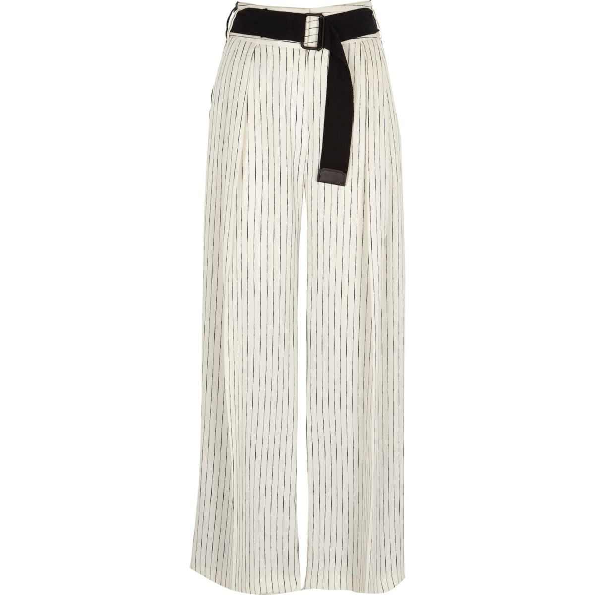 White stripe front block wide leg trousers