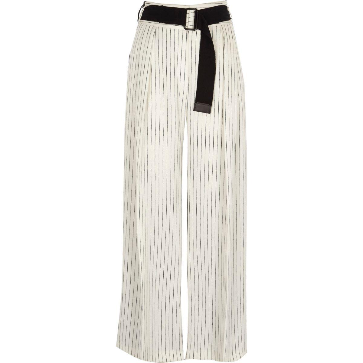 White stripe front block wide leg pants