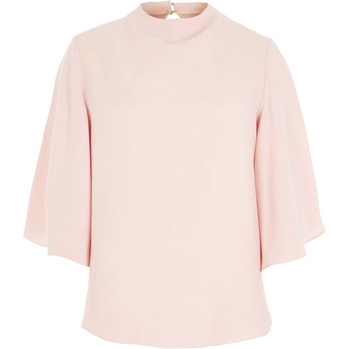 Light pink high neck cape sleeve top
