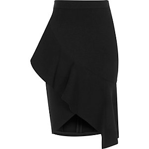 Black asymmetric frill pencil skirt
