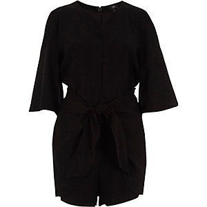 Black cold shoulder tie front playsuit