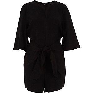 Black cold shoulder tie front playsuit