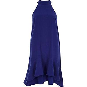 Robe trapèze bleu vif à col montant et volant