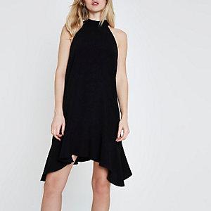 Black high neck frill swing dress