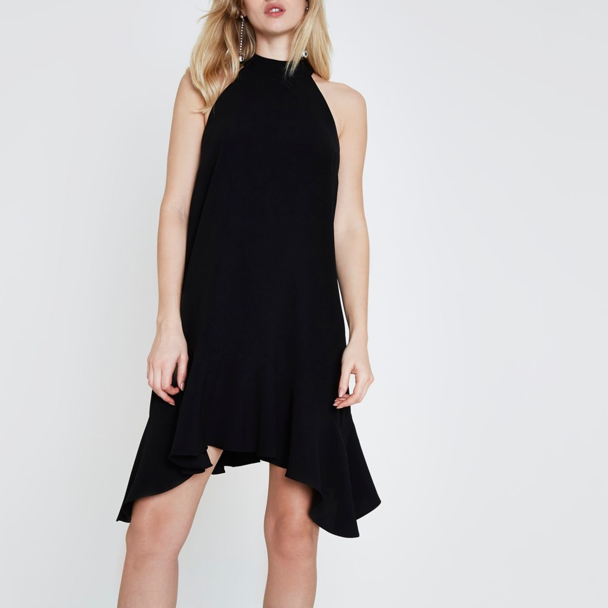 Black high neck frill swing dress