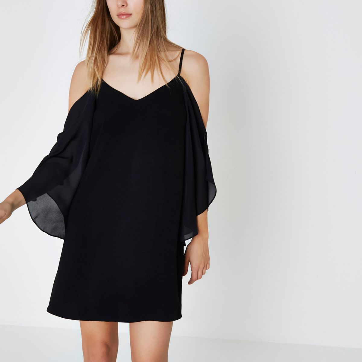 Black frill sleeve cold shoulder swing dress