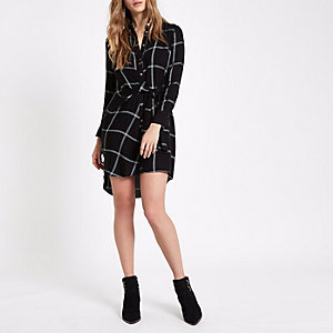 Black check tie front shirt dress
