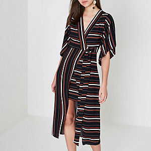 Black stripe kimono wrap midi dress