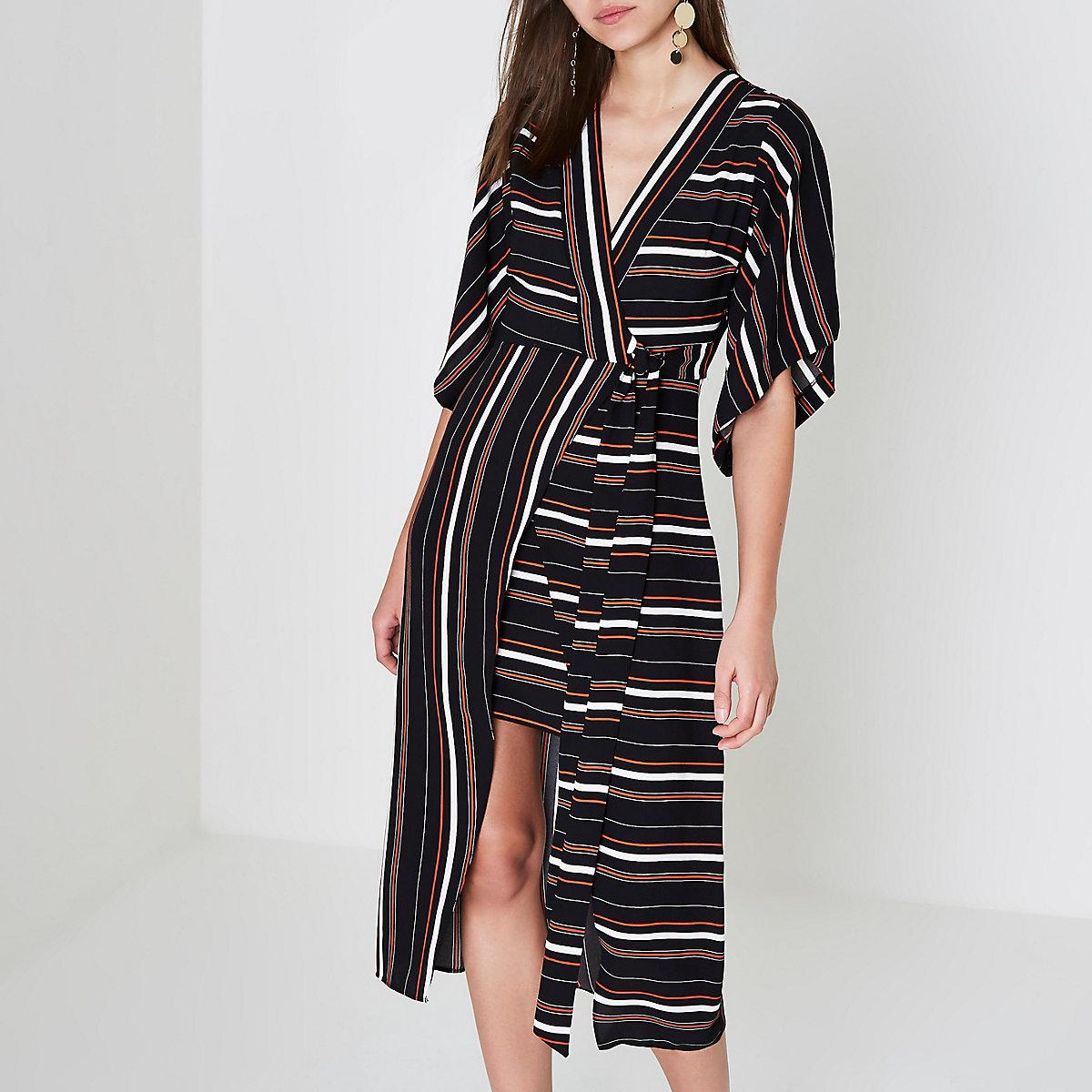 Black stripe kimono wrap midi dress