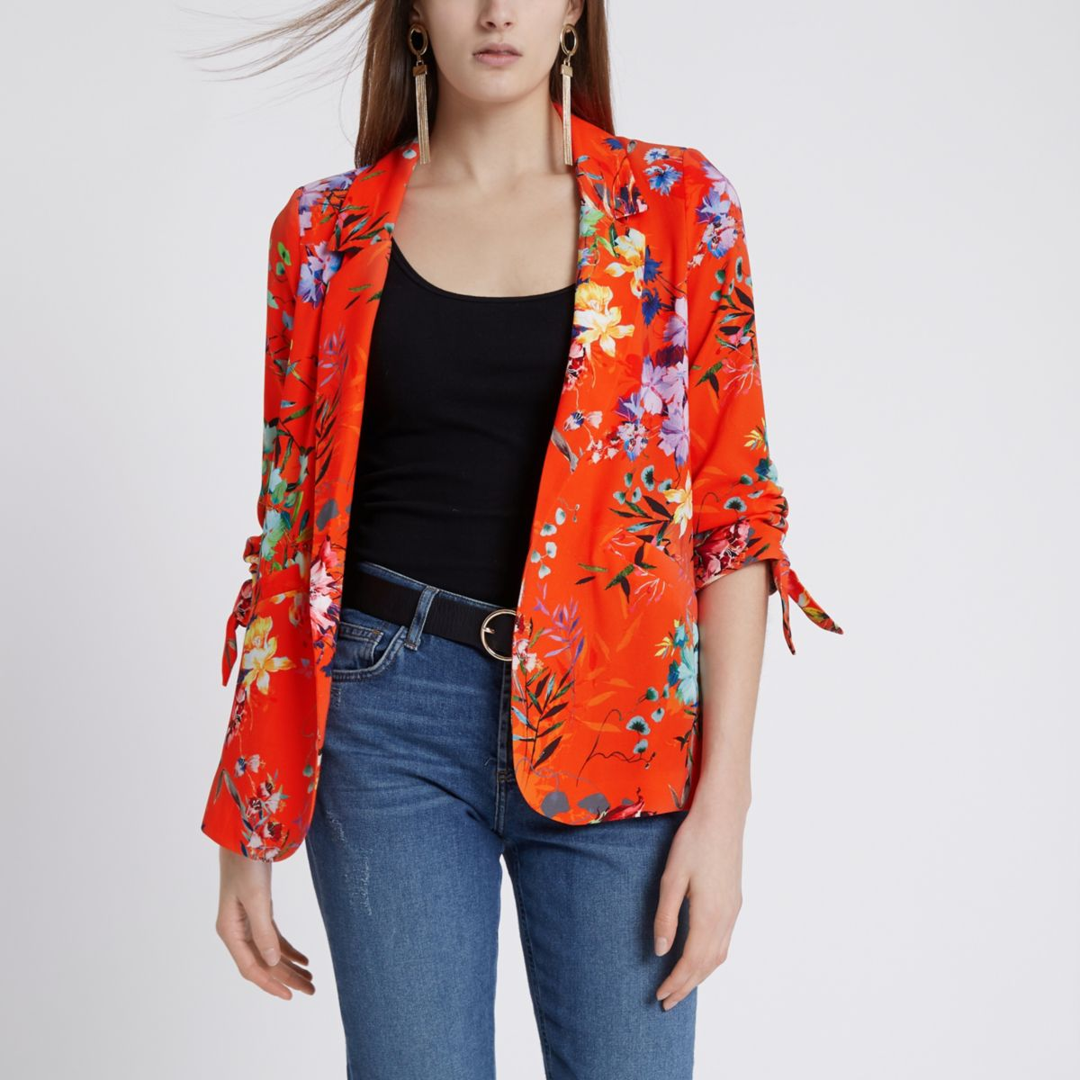 Orange floral ruched sleeve blazer