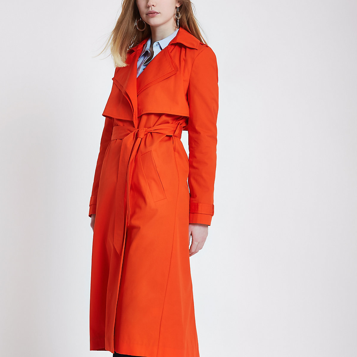 Red double collar belted trench coat