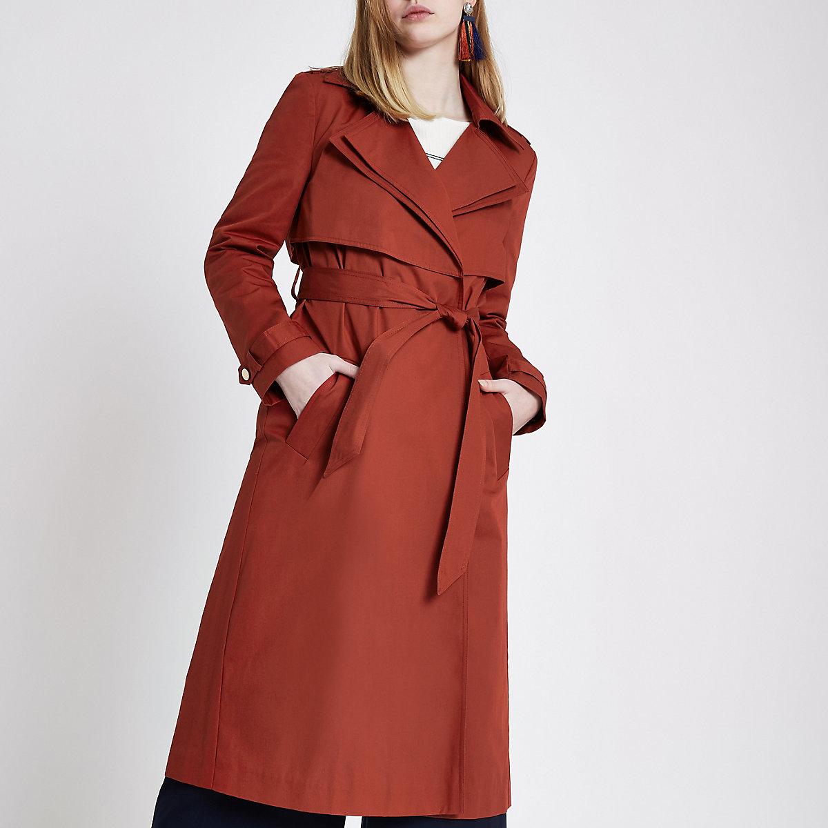 Rust orange double collar belted trench coat