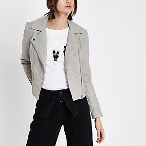 Grey quilted faux leather biker jacket