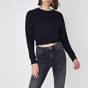 Donkergrijs sweatshirt met gesmokte zoom